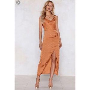 NWT nasty gal polka dot cowl wrap split dress sz 4